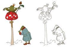 Princess frog on mushroom amanita. Stock illustration. Princess frog on mushroom amanita Stock Image