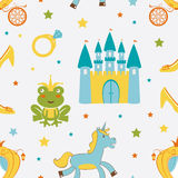 Princess frog seamless pattern Stock Photo