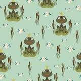 Princess frog seamless pattern Royalty Free Stock Images