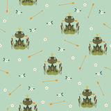 Princess frog seamless pattern. Seamless pattern with princess frog holding an arrow Stock Photography