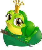 Princess the frog. That sits on a sheet of water lilies on a white background Stock Photo