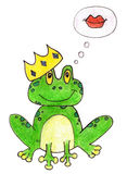 Princess frog vector illustration. Cartoon Royalty Free Stock Images