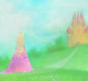 Princess in front of her castle. Raster Illustration Stock Photo