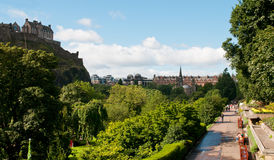 Princess Gardens with Edinburgh castle Stock Photos