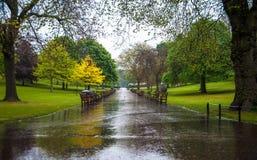 Princess Gardens on a rainy day, Edinburgh Scotland royalty free stock images