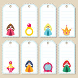 Princess gift tags. Gift tags with cute little princesses and princess accessories. Some blank space for your text included Royalty Free Stock Photo