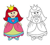 Princess girl. Smiling girl in princess costume. The black and white version is useful for coloring book pages for children Royalty Free Stock Image
