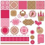 Princess Girl Birthday Set. Scrapbook Design Elements - Princess Girl Birthday Set - in Stock Photography
