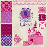 Princess Girl Birthday Set Royalty Free Stock Images