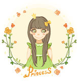Princess girl in the floral frame.  Royalty Free Stock Image