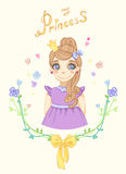 Princess girl in floral frame. With crown Stock Photo
