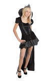 Princess girl in long black velvet dress and crown Stock Photography