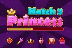 Princess girlish loading Match3 Games, game assets icons. Vector Princess girlish loading Match3 Games, game assets icons royalty free illustration