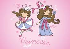 Princess girls. Vector illustration of 2 princess girls Stock Images