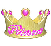 Princess Gold Crown Royalty Pretty Spoiled Girl Woman. Gold crown with word Princess in pink letters for a girl or woman who is royalty, privileged, in line to Royalty Free Stock Photo