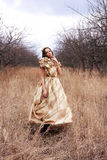 Princess in gold dress Stock Photography