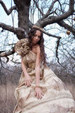 Princess in gold dress Royalty Free Stock Image