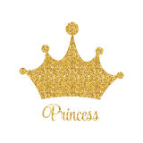 Princess Golden Glossy Background with Crown Vector Illustration. EPS10 Stock Images