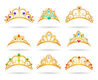Princess golden tiaras with diamonds. Isolated on white background. Gold girls crowns vector illustration Stock Images