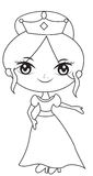 Princess in a gown coloring page Royalty Free Stock Image