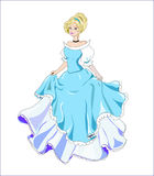 Princess. Great princess with gold hair in a ball blue dress Royalty Free Stock Photo