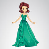 Princess In Green Evening Dress Royalty Free Stock Photography