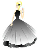 Princess in grey dress with glass. Vector illustration Royalty Free Stock Images