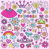 Princess Groovy Notebook Doodles. Psychedelic Princess Notebook Doodles with Peace Sign, Tutu, Tiara, Crown, Diamonds, Ring, Jewelry, Flowers, Hearts, Stars Stock Photo