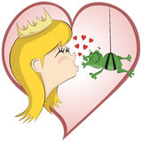 The Princess And The Hanging Frog On a Mission. A cheeky frog tries to kiss the princess Stock Photo