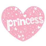 Princess heart shaped lettering design Royalty Free Stock Photography