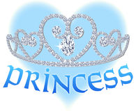 Princess Heart Tiara. Princess tiara against a blue heart Royalty Free Stock Photos