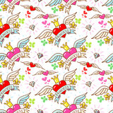 Princess heart with wings and crown, seamless pattern Stock Image