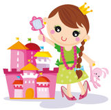 Princess with her castle. Illustration of little princess-girl playing with castle Royalty Free Stock Image