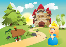 The princess and her kingdom vector illustration
