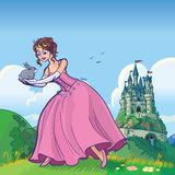 Princess holding rabbit with castle vector cartoon. Vector cartoon illustration of a princess holding a rabbit with a fantasy castle in the distant background stock illustration