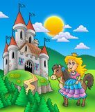 Princess on horse with castle. Color illustration stock illustration