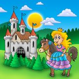 Princess on horse with old castle. Color illustration Royalty Free Stock Photo