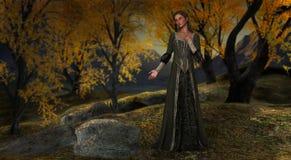 Princess Serene Peaceful Forest Illustration. A princess in a peaceful and tranquil forest royalty free illustration