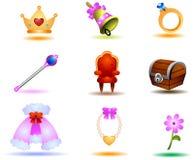 Princess Icons Royalty Free Stock Photography
