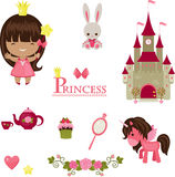 Princess icons design. Vector illustration of princess design elements. Isolated icons over white stock illustration