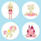Princess icons Royalty Free Stock Images