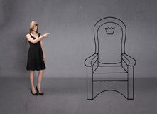 Princess indicated throne. Emotions and expression for woman stock photo