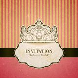 Princess invitation card with crown Stock Image