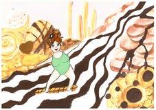 Princess jedzie surfboard na rzece biała i ciemna czekolada royalty ilustracja