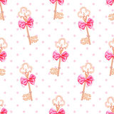 Princess keys on polka dotted background seamless print Royalty Free Stock Photos