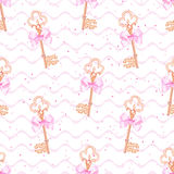 Princess keys on wave  background seamless vector print Royalty Free Stock Photo