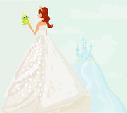 Princess kissing a big frog Royalty Free Stock Photos