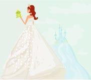 Princess kissing a big frog. Beautiful young princess holding a big green frog Royalty Free Stock Photos