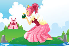 Princess kissing a frog Royalty Free Stock Photo