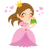 Princess Kissing Frog. Beautiful little princess kissing cute green frog prince with crown Stock Images